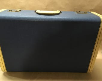 "1940s Hartmann Suitcase--Blue and Cream--7 x 14 x 23""--Good Vintage Condition--Unlocked but No Key"