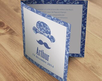 Hat and mustache birth announcement