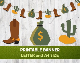 Printable Banner Cowboy, Cowboy Garland, Nursery Banner, Wild West Banner, Cowboy Themed Party, Cowboy Boot, Сactus, Cowboy Decor, Download