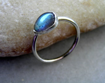 blue labradorite drop sterling silver ring