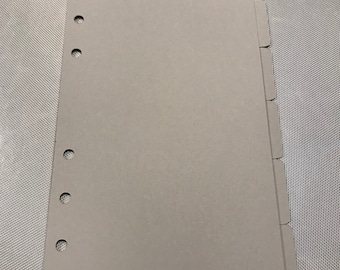 Personal size dividers gray set 6 tabs Filofax and other planners.