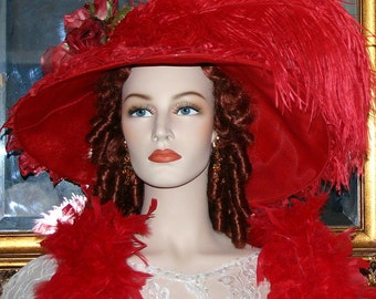 Kentucky Derby Hat, Edwardian Hat, Ascot Hat, Downton Abbey Hat, Red Hat Society - Run for the Roses - Wide Brim Hat Womens