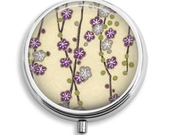 Pill Case Washi Pattern Purple Gray Flowers Ivory Background Pill Box Case Trinket Box Vitamin Holder Medicine Box Mint Tin Gifts For Her