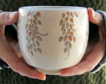 Porcelain White and Pink Botanical Ceramic Yunomi Tea Bowl Tea Cup Woodland Hand Drawn Painted Handmade Artisan Pottery by Licia Lucas Pfadt