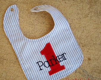 First Birthday Party Bib for boy or girl - Nautical, sailor, or boat custom bib in blue and white stripes and free monogram