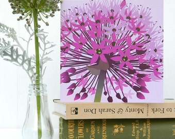 Purple Allium Flower Birthday Card - Card for Gardeners, Blank card,