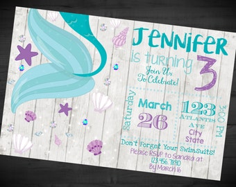 Mermaid Birthday Invitation - Under The Sea Invite - Rustic Pier - Printable or Printed - SHIPPING INCLUDED - 4x6