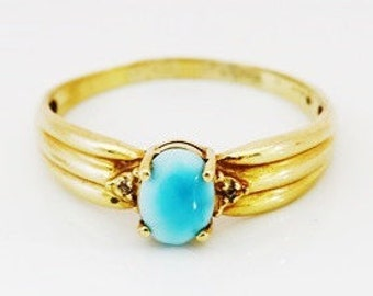 Vintage Ladies Larimar Solitaire with Diamond Shoulders Engagement Ring in 10ct Yellow Gold FREE POSTAGE