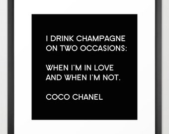Chanel Print, Fashion Decor, Black and White Wall Art, Chanel Canvas Art, Coco Chanel Quote, Gifts for Her, Gifts for Women, Chanel Inspired