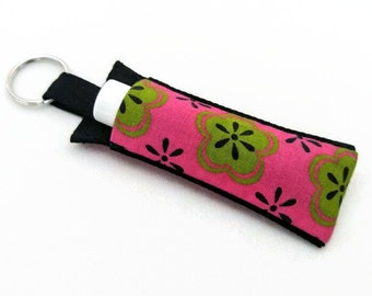 Chapstick Holder Keychain, Lip Balm Holder, Chapstick Holder, Lip Balm Keychain, Lip Balm Case, Pink and Green Mod Flowers Lip Balm Holder