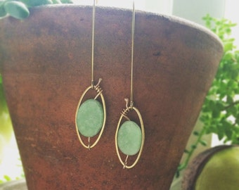 Amazonite and brass drop earrings