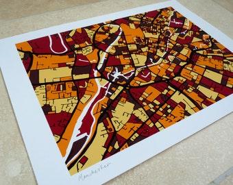 Manchester Art Map - Limited Edition Contemporary Giclée Print
