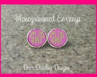 Monogrammed Hot Pink Josie Earrings Gold Plates