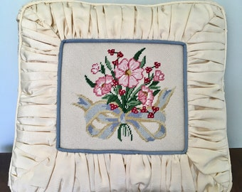 Vintage Needlepoint Pillow - Moire Fabric Pillow - Floral Pillow - Blue and White Pillow - Vintage Pillow - Vintage Needlepoint