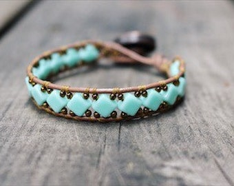 Turquoise and Gold Beaded Wrap Bracelet