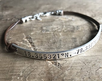 Personalized Women's Bracelet Leather & Sterling Silver Custom Bracelet GPS Coordinates