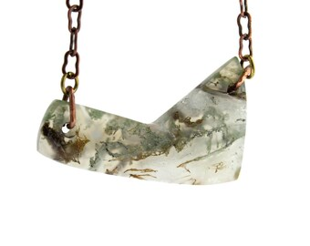 Moss Agate Asymmetrical Necklace