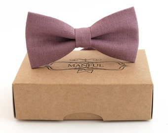 Purple  bow tie, wedding necktie, linen necktie,  groomsmen necktie,  purple necktie, purple bow tie for men