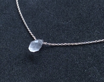 """Delicate Rose Quartz Briolette Bead On Sterling Silver .925 Chain 19"""" Handmade Petite Ladies Necklace Light Pink A374"""