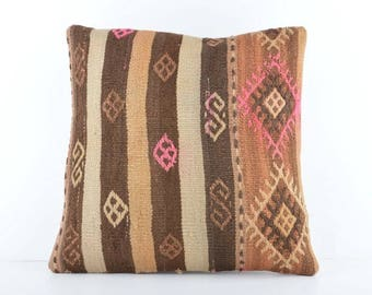 Decorative Kilim Pillow, 18''x18'' Embroidered Kilim Pillow, Turkish Kilim Pillow, Decorative Kilim Pillow, Handmade Kilim Pillow