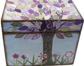 Recipe Box, Lavender Purple, Cream and Green Tree Wedding Shower Box, Kitchen Storage, Organization Holds 4x6 Recipe Cards  MADE To ORDER