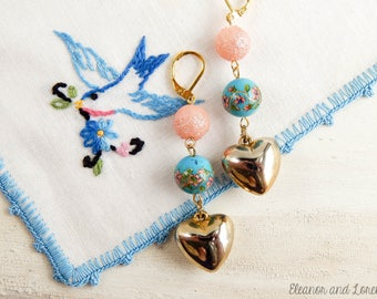 Upcycled heart earrings / upcycled earrings / repurposed jewelry / recycled jewelry / vintage heart / sugar beads / floral beads / dangle