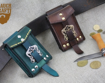 Leather mini purse customized, larp fantasy elven rpg costume cosplay pouch
