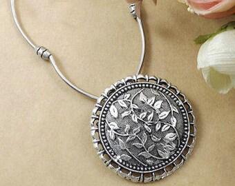 Tibetan Silver Medallion Necklace