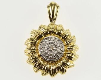 14K Two Tone Diamond Inset Accent Sunflower Pendant Yellow Gold