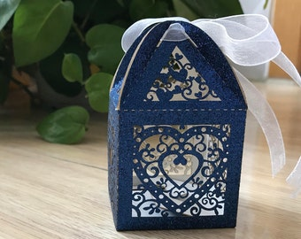 100pcs Dark Blue Cute Gift Box with Ribbon,Beautiful Heart Wedding Favor Boxes,Baby Shower Souvenir Boxes,Laser Cut Gift Packaging Boxes