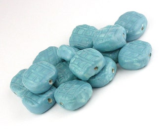 Turquoise beads, blue beads, aqua beads, stoneware beads, ceramic beads, tablet Beads, unique beads, artist beads, bead set