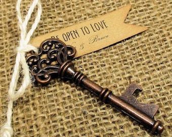 Key Bottle Opener - Rustic Wedding Favor - Set of 10 - Skeleton Key - Personalized - Custom - Unique - Vintage inspire - Key Ring