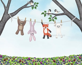 clean toys, with chickadees - signed print 8X10 inches by Sarah Knight, clothesline laundry art brown bear bunny fox white sheep lamb birds