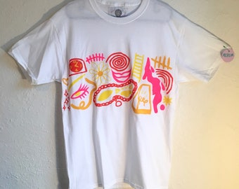 Painted White T-Shirt by Sam Pletcher 〰 Hand Painted One of a Kind Adult Medium Shirt 〰 Golden Yellow, Hot Pink, Lemon Yellow, and Orange