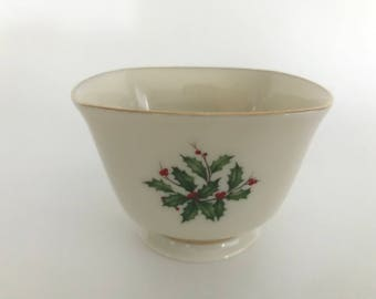 LENOX Square Bowl, Lenox Holiday Bowl, Holly and Berries, Ivory China BOWL, 24K Gold Trim, Footed Nut Bowl,Lenox Sauce Dish, made in USA,