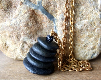 Black Cairn Necklace - Black Beach Stone Cairn Pendant