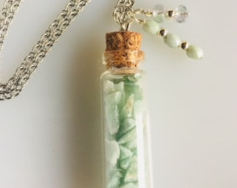 Glass Bottle Charm Necklace with Crushed Genuine Green Aventurine Gemstone