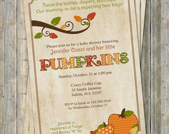 fall baby shower invitations, baby shower invitation with pumpkins, Digital, Printable file