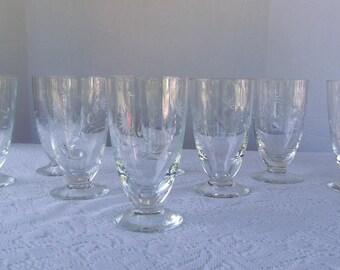 Vintage Crystal Cut Glass Iced Tea -- Set of 8