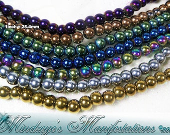 Electroplated Glass Mardi Gras Beads 3mm