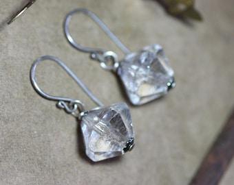 Chandelier Crystal Earrings Sterling Silver Crystal Beaded Earrings Faceted Cut Beads Rustic Jewelry