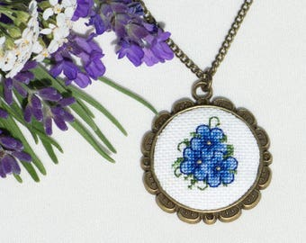 Hand Embroidered Floral Pendant Blue Necklace