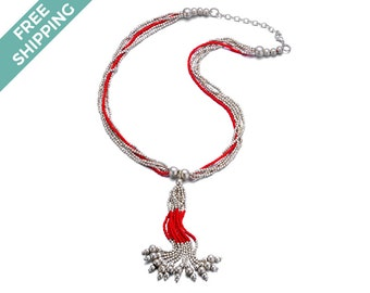 Multi-layered Silver and Red Bead Necklace