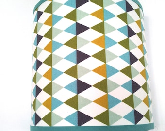 APPLIQUE wall pattern graphic Argyle blue and mustard