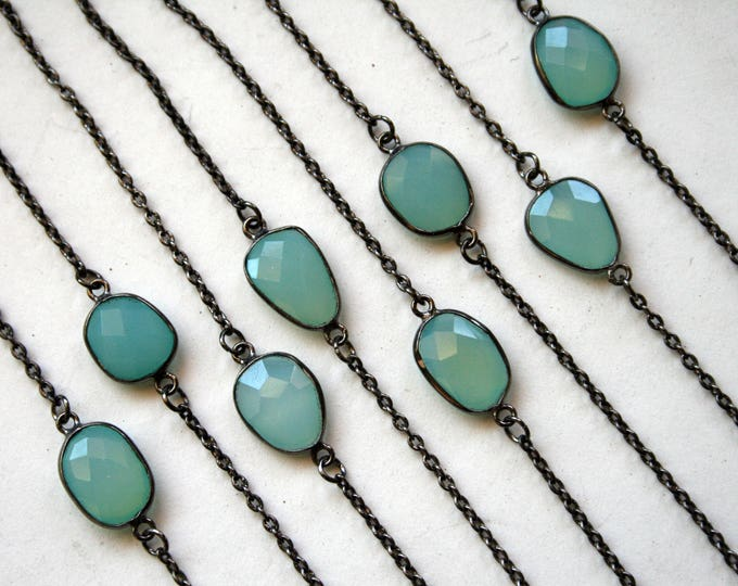 Petite Aqua Chalcedony Gunmetal Necklace // Minimal Blue Chalcedony Layering Necklace