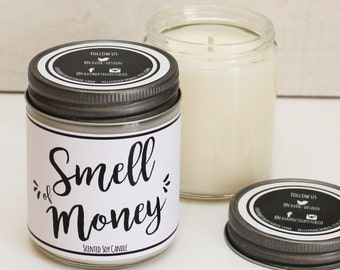 Smell of Money Scented Candle - 8 oz Candle | Scented Soy Candle | Money Scented Candle |Candle Handmade | Personalized Candle | Candle Gift