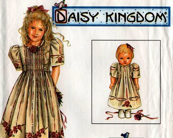"1997 Daisy Kingdom GIRLS' & 18"" DOLL DRESS Pattern Simplicity #7999 Size 5,6,7,8 Party Sunday Dress Vintage Sewing"
