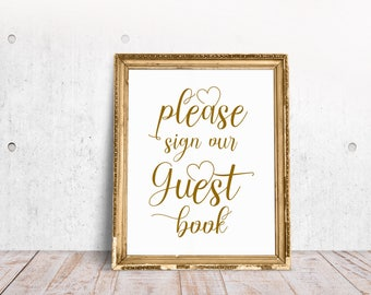 Wedding Guest Book Sign, Wedding Guestbook, Guestbook Sign, Modern Guest Book Sign, Guest Book Sign In, Black, Gold