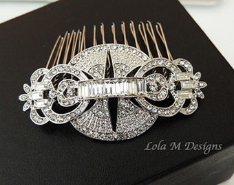 Anna - Art Deco Bridal Hair Comb - Vintage inspired wedding hair comb - wedding accessory - crystal hair comb - Made to order