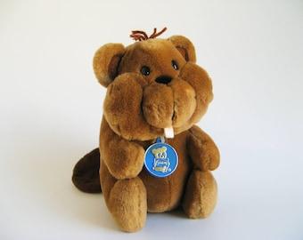 Vintage Beaver Stuffed Animal by R Dakin 1980s Toy Buck Teeth Barbara Alexander 80s Toy Woodland Animal